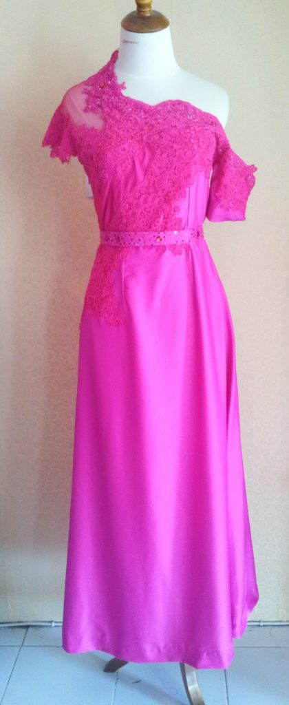 Dress Cantik Asimetis Warna Pink Full