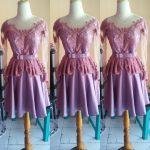 Dress Semi Kebaya Peplum Pendek Dengan Obi