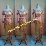 Kebaya Tille Pink Kombinasi Kuning Kerah Sabrina Rok Bordir