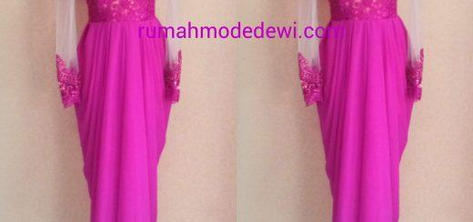 Dress Kebaya Pink Dengan Rok Drapery Panjang Full