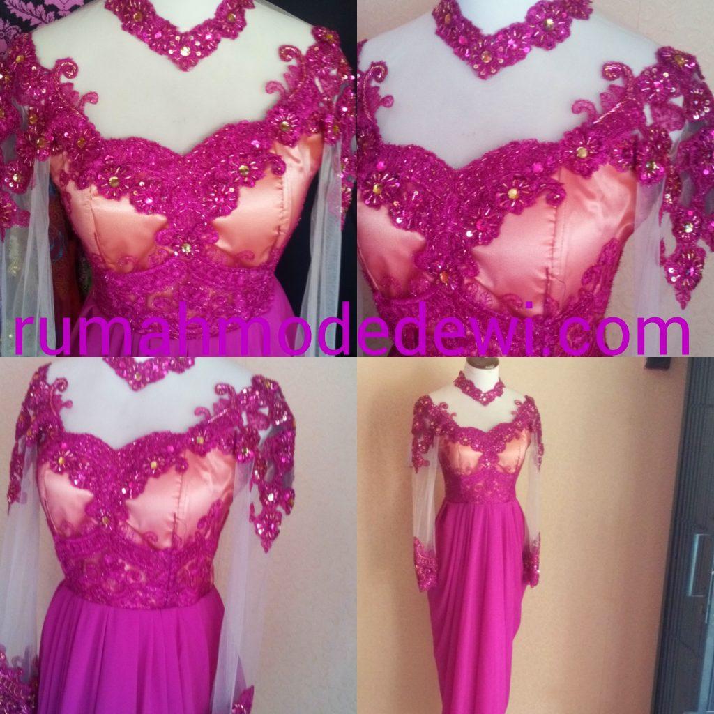 Dress Kebaya Pink Dengan Rok Drapery Panjang Detail