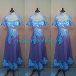 Dress Biru Kerah Lebar Lengan Pendek