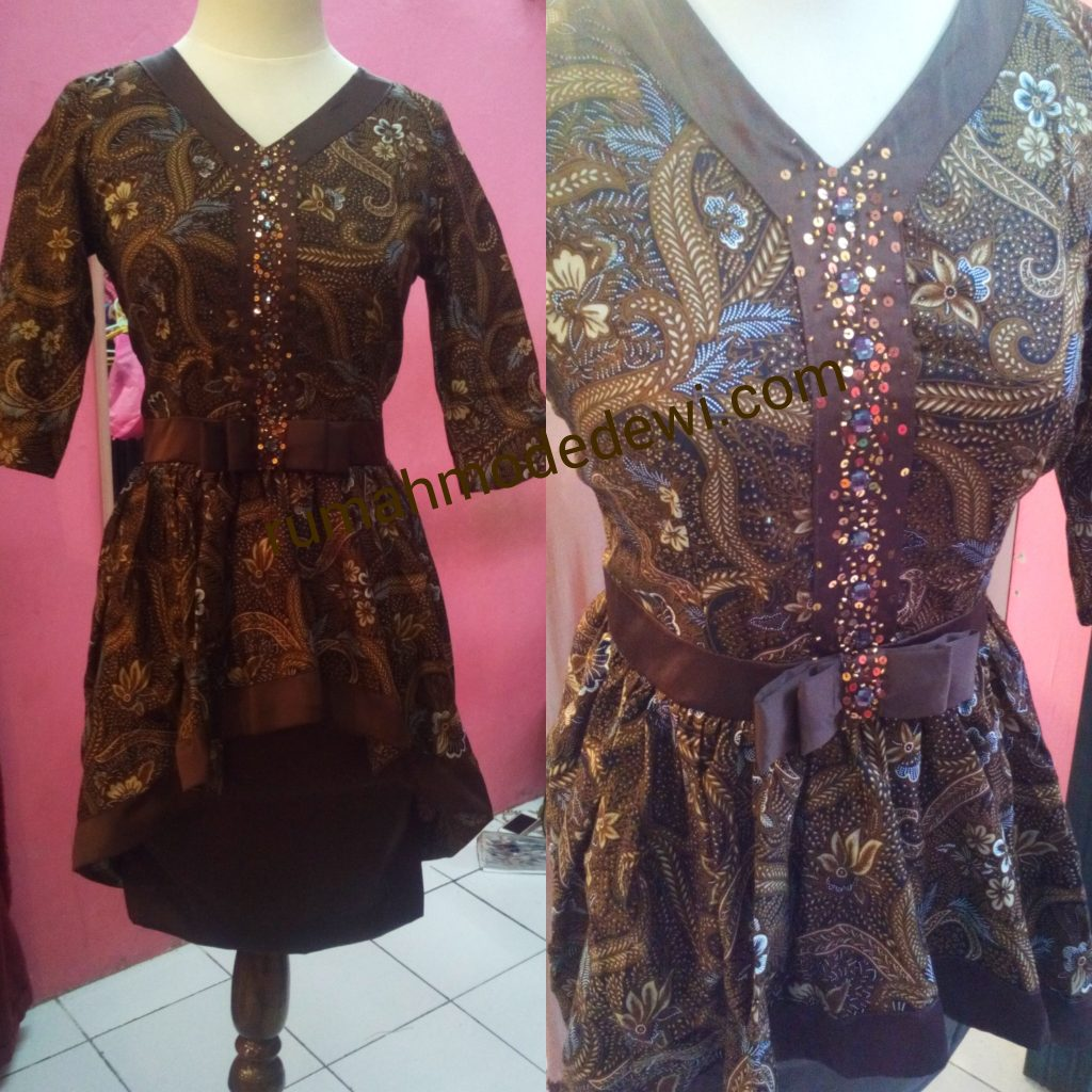 Dress Batik Payet Dengan Belt Pita