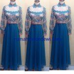 Dress Muslim Cantik Berwarna Biru Dan Krem