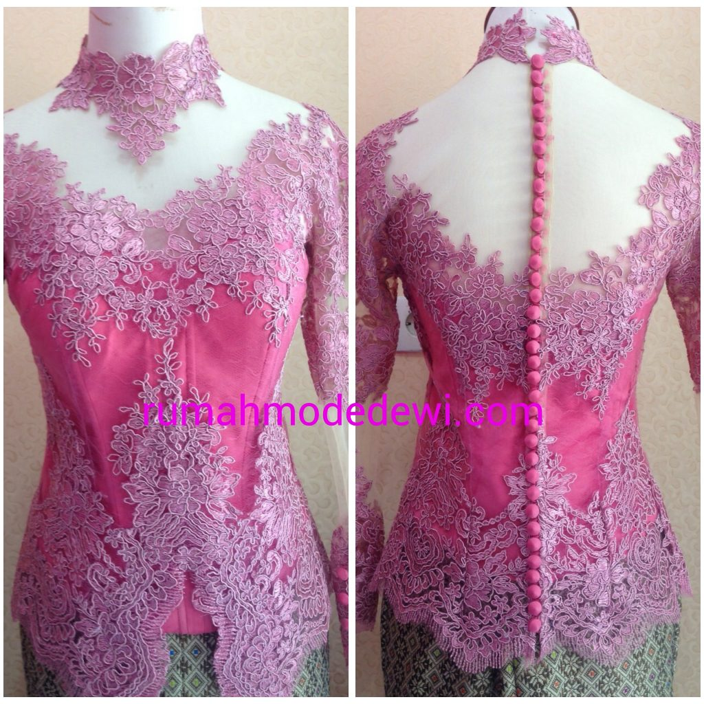 Kebaya Pink Kerah Shanghay Kancing Belakang