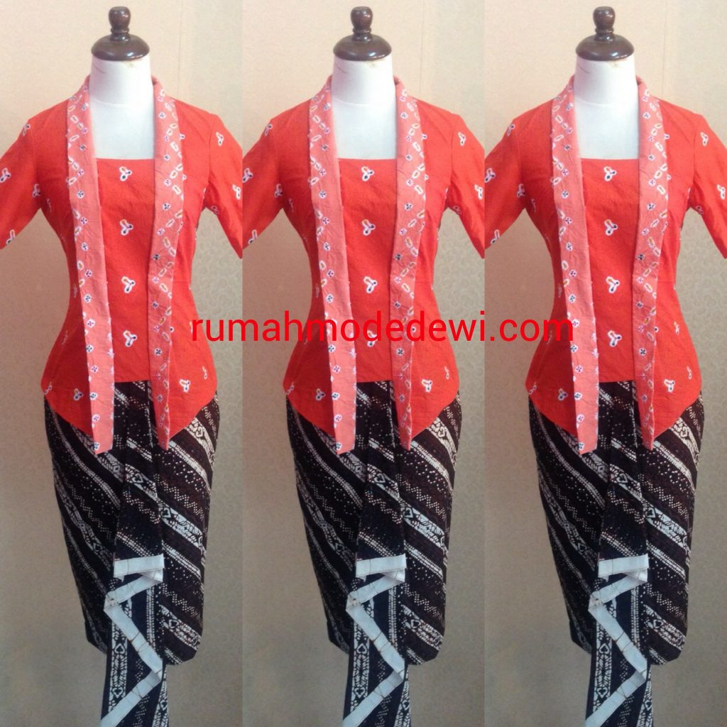 Kebaya Blouse Orange Bahan Batik Katun
