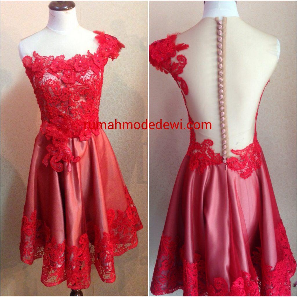 Dress Prada Merah Punggung Backless