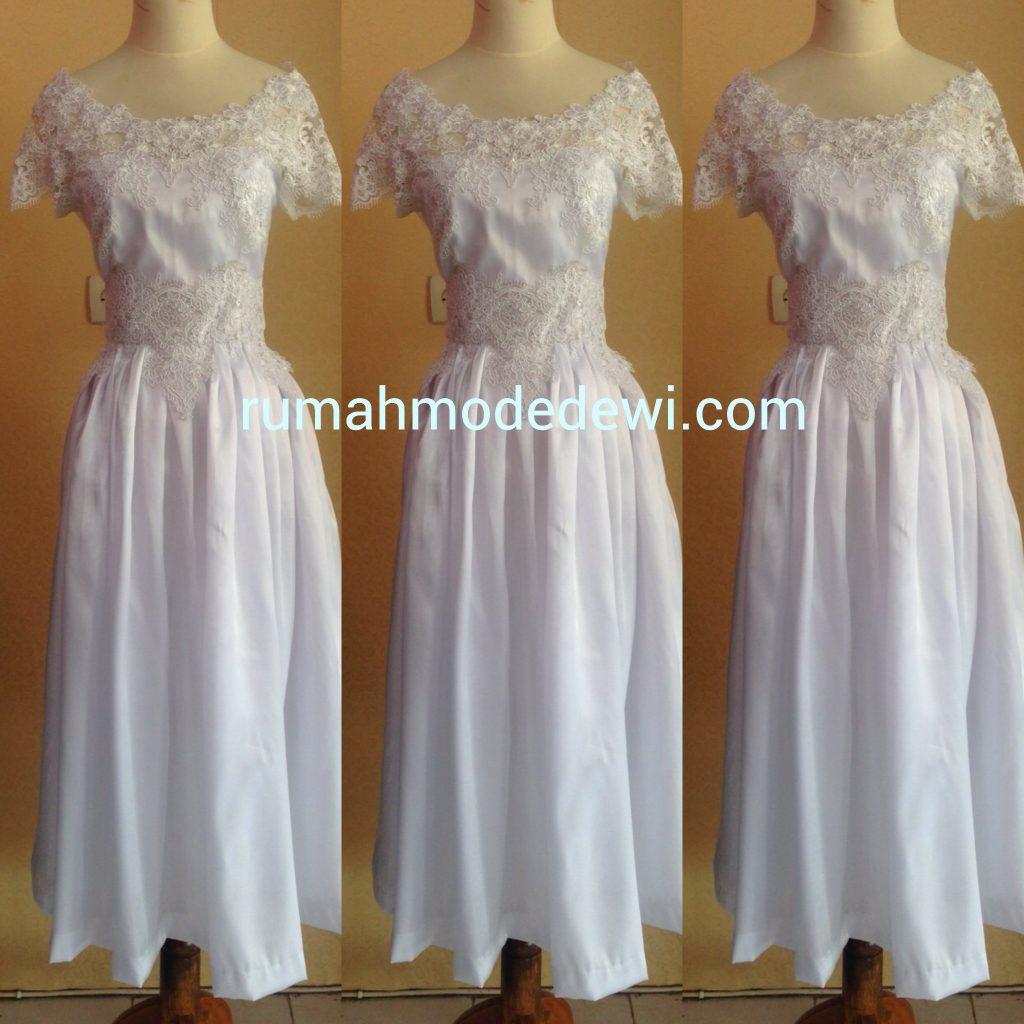Dress Putih Rok Lingkar Penuh