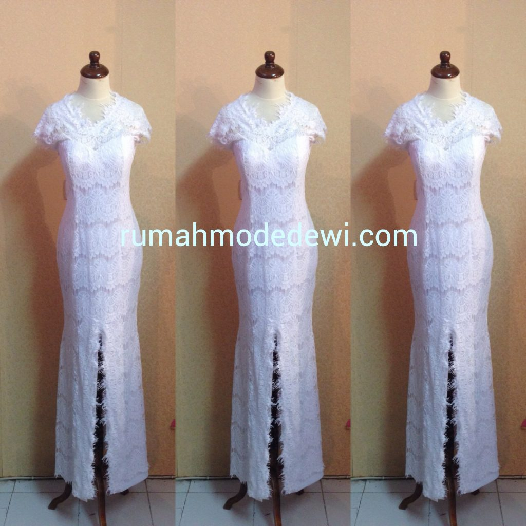 Long Dress Putih Bahan Renda