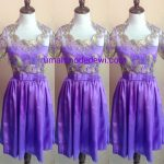 Mini Dress Satin Ungu Dengan Belt Pita