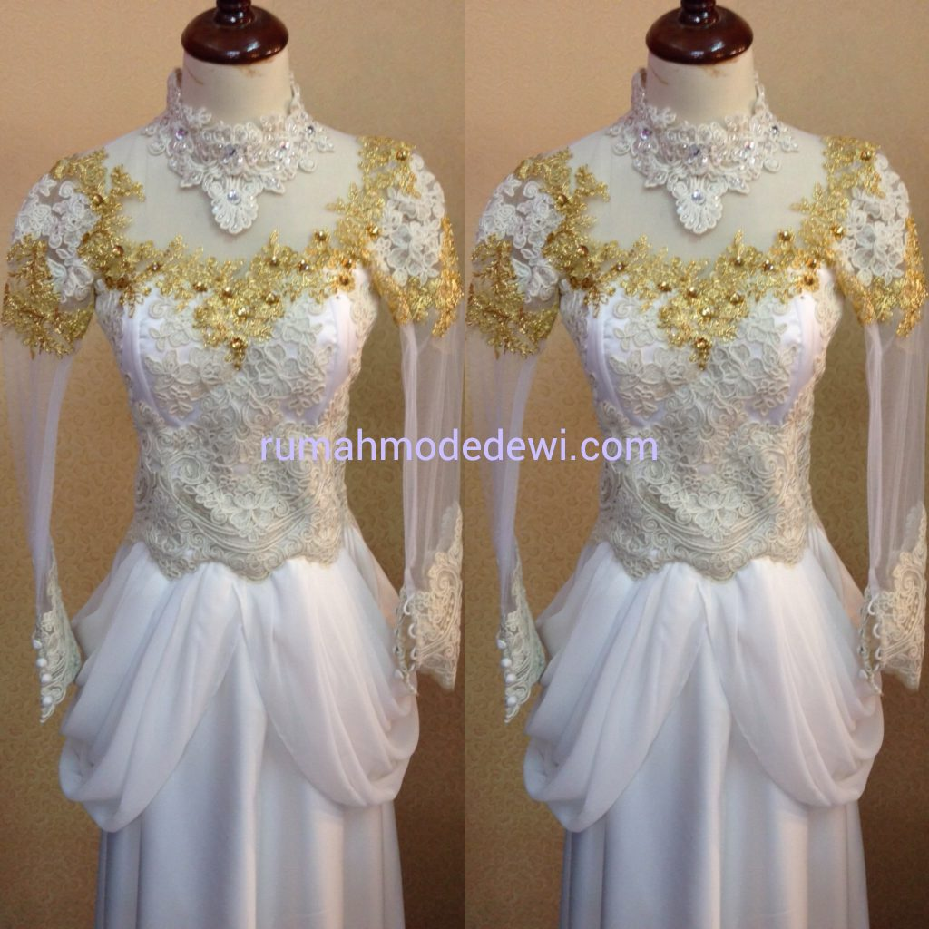 Dress Putih Kombinasi Emas Drapery