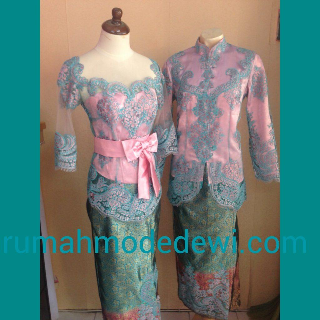 Kebaya Seragam Warna Pink Biru