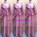 Dress Gamis Pink Layer Tiga Susun