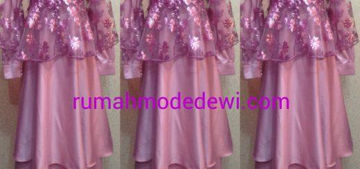 Dress Gamis Pink Layer Tiga Susun