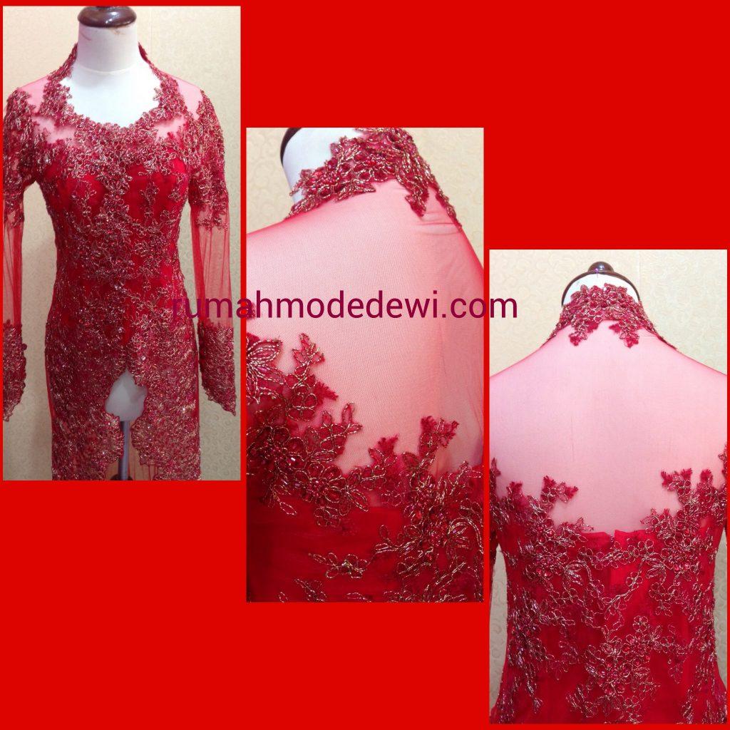 Kebaya Modern Merah Panjang Full Payet tampak belakang