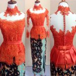 Kebaya Peplum Warna Orange Cute