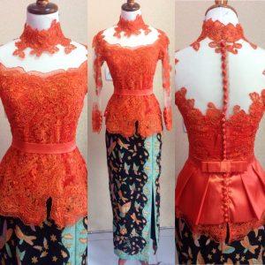 Kebaya Peplum Warna Orange Cute
