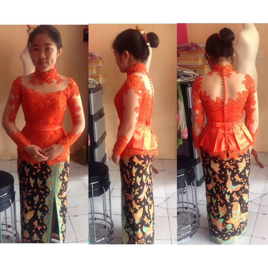 Fitting Kebaya Peplum Warna Orange