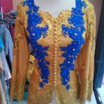 Kebaya Muslim Kuning Kombinasi Biru Elektrik Full