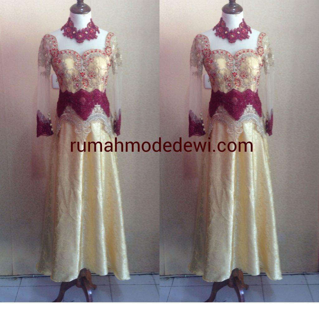Dress Cantik Merah Maroon Emas Dengan Payet
