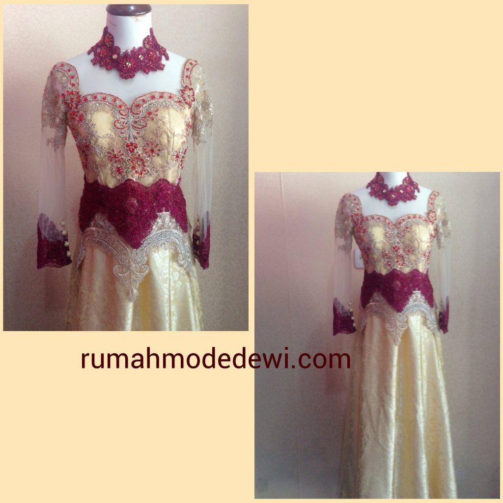Dress Cantik Merah Maroon Emas Dengan Payet Detail