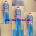 Dress Gamis Peplum Pink Biru