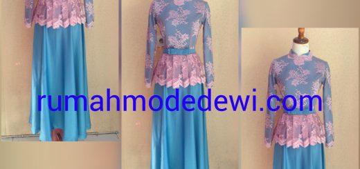 Dress Gamis Peplum Pink Biru