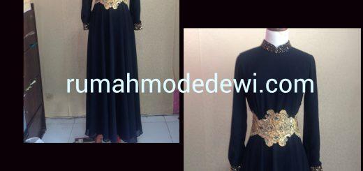 Dress Gamis Abaya Hitam Dengan Bordir Emas