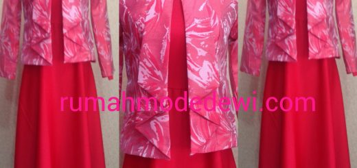 Dress Muslim Outfit Warna Merah Peach