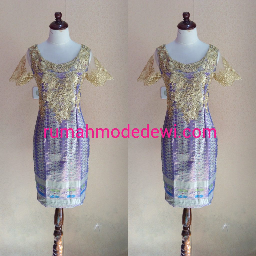 Dress Kebaya Bahan Songket Ungu Emas
